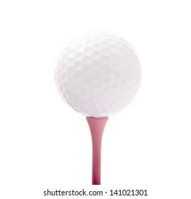 Golf Ball Isolated on Pink Tee