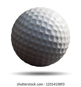 Golf ball isolated on white background. This has Clipping path.