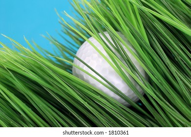 golf ball lost in long rough artificial grass