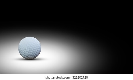 Golf ball on black background with copy space.