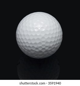 Golf ball on the black background