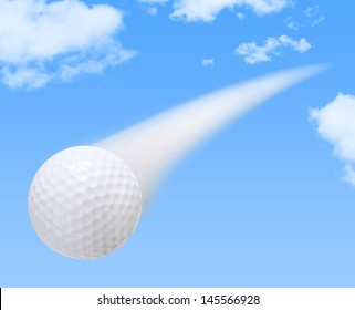 Golf Ball on a Blue Sky Background with motion blur