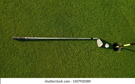 golf ball on golf course, background of green grass, minimalism concept