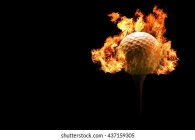 Golf ball on Fire or Burning Golf ball