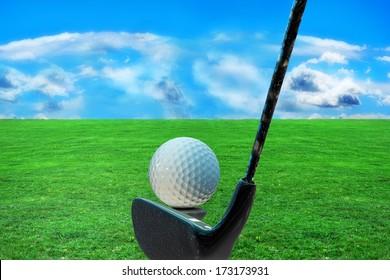 Golf ball on grass - 3d rendered illustration