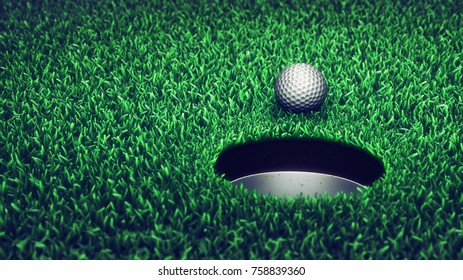 Golf ball on grass course , 3d illustration