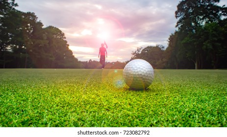 Golf ball on green and golfer background. Beautiful view overlooking layout fairway and tree line around. Light sunset sent to affect golfer and green is impressive to use in course.