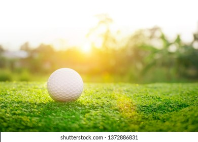 Golf ball is on a green lawn in a beautiful golf course with morning sunshine.Ready for golf in the first short.Sports that people around the world play during the holidays for health.