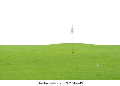golf ball on green on white background.