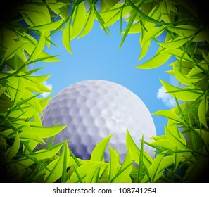 Golf ball on the hole edge, view from inside the hole.