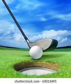 golf ball on lip near bunker, lovely beautiful golf course