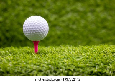 Golf ball is on pink tee on green grass background