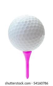 golf ball on pink tee close up