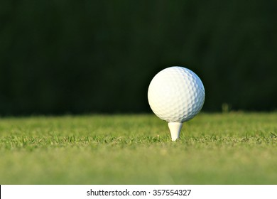 A golf ball on a tee at a country club.