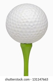 Golf ball on tee, isolated on white, includes clipping path