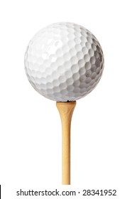 Golf ball on a tee isolated on white