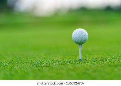 Golf ball on tee ready to be shot at golf court.
