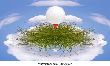 Golf ball on tee rests on grass with small planet effect