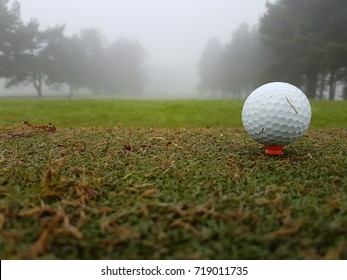 golf ball on tee in winter