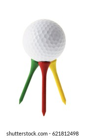 Golf Ball on Tees on White Background