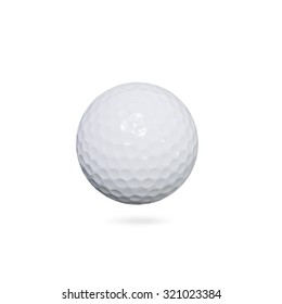 Golf ball on white background with clipping path.
