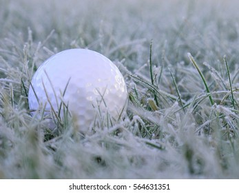 golf ball on white frosen grass