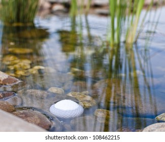 Golf ball in the pond