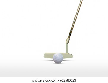 Golf ball and putter isolated on white background.  for present your products .There is space  for adding text.