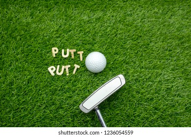 Golf ball and putter are on green grass