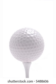 A golf ball rests on a tee.White Background.