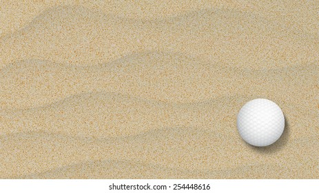 Golf ball in a sand trap looking top down