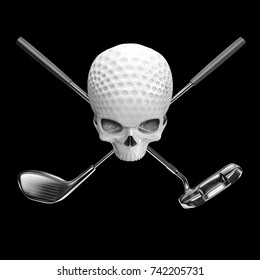 Golf ball skull / 3D illustration of skull shaped golf ball with crossed driver and putter clubs