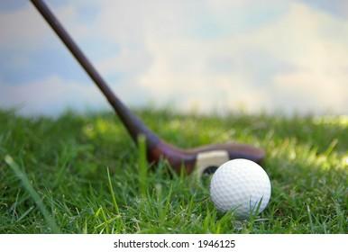 Golf ball and sky
