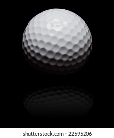 golf ball in spot light on black (with reflexion)