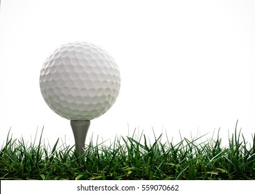 Golf ball with tee in the grass on white background