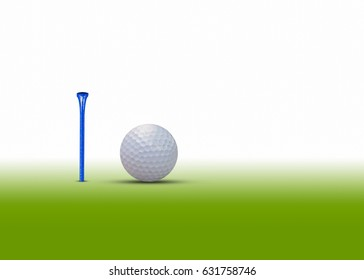 Golf ball and tee isolated on white background.  for present your products .There is space  for adding text.