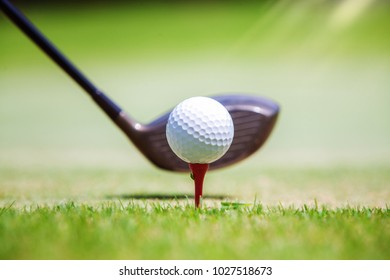 Golf ball at tee off position on green this photo can use for sport, relax and holiday concept