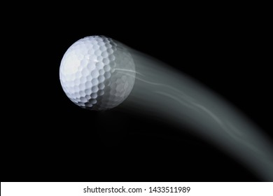 golf ball with trail on black background