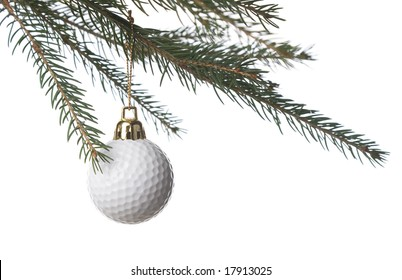Golf ball as a xmas ornament in fir tree isolated on white background