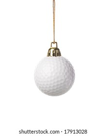 golf ball as a xmas ornament , isolated on white background