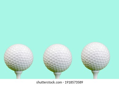 Golf balls are isolated on green background