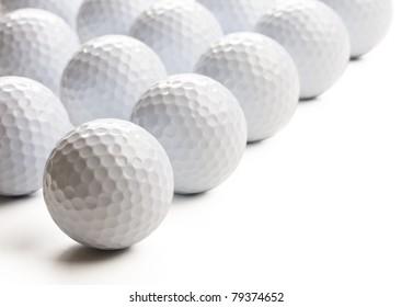 Golf balls isolated on white background.