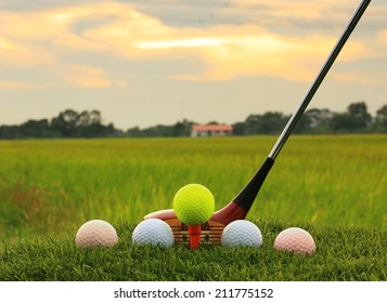 Golf balls and wooden driver on green grass background