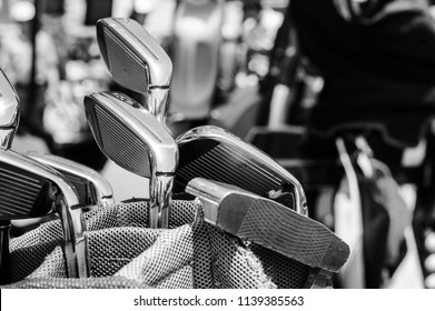 Golf bats in the bag.