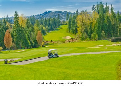 Golf cart at the beautiful  golf course. Vancouver, Canada.