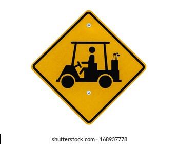 Golf cart crossing caution road sign isolated with clipping path.