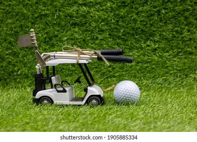 Golf cart with flag 19th hole are on green grass for moving home concept