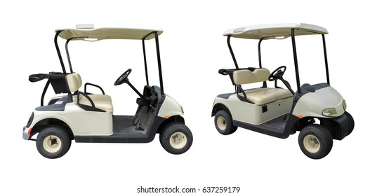 Golf cart golfcart isolated on white background with clipping path.