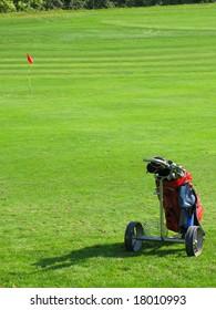 Golf cart on the grass