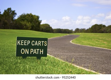 Golf cart path and sign